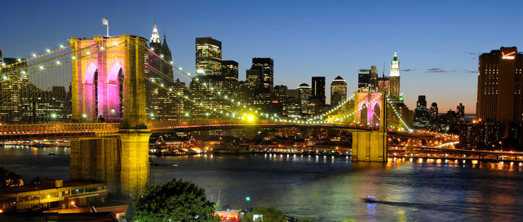 Brooklyn Bridge by night, New York City
