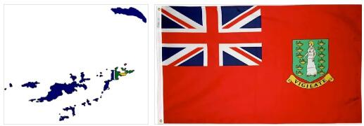 British Virgin Islands Flag and Map