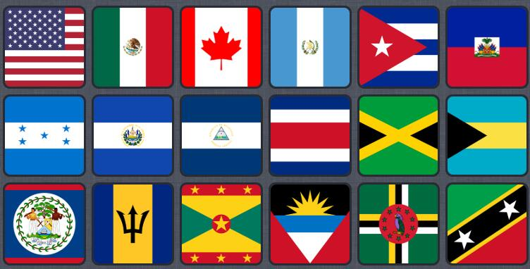 Countries and Flags in North America