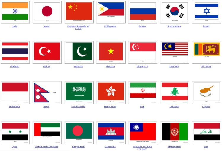 all Asian countries 1