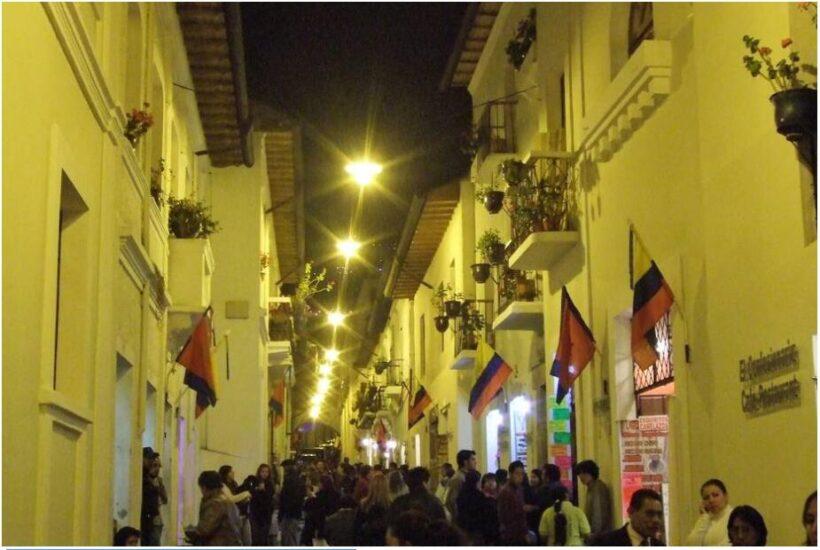 La Ronda alley on the edge of the historic quarter of the capital Quito