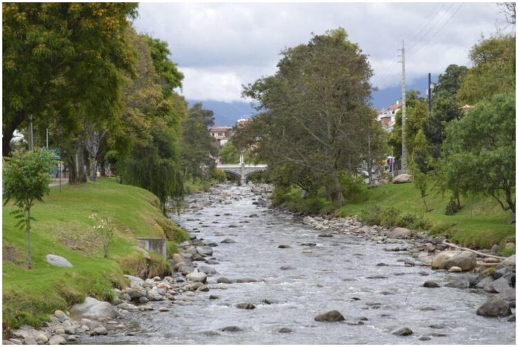 The Tomebamba River in Cuenca Ecuador